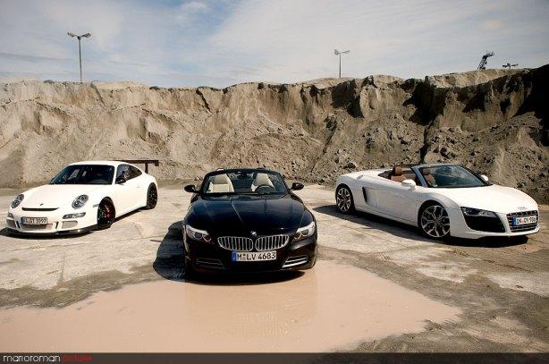BMW Z4, Audi R8 Spyder V10, Porsche GT3 cup by marioroman pictures